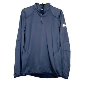 UA • Black Coldgear Fitted 1/4 Zip Active Sweater